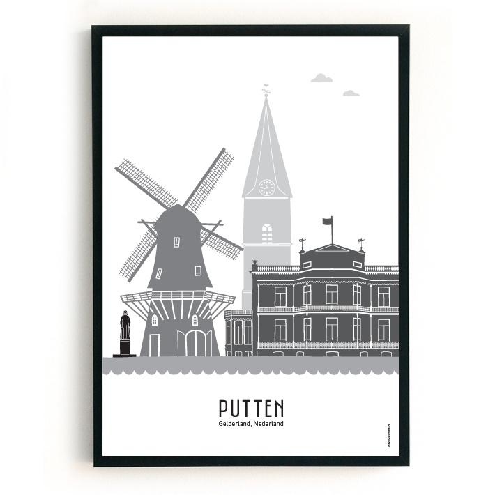 Poster Putten zwart-wit-grijs