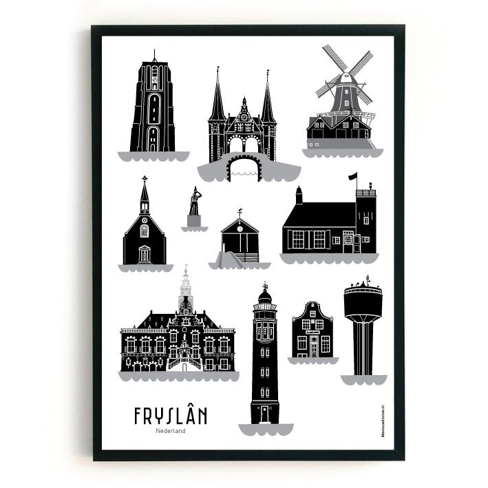 Poster Fryslân zwart-wit-grijs | Friesland | 11 steden