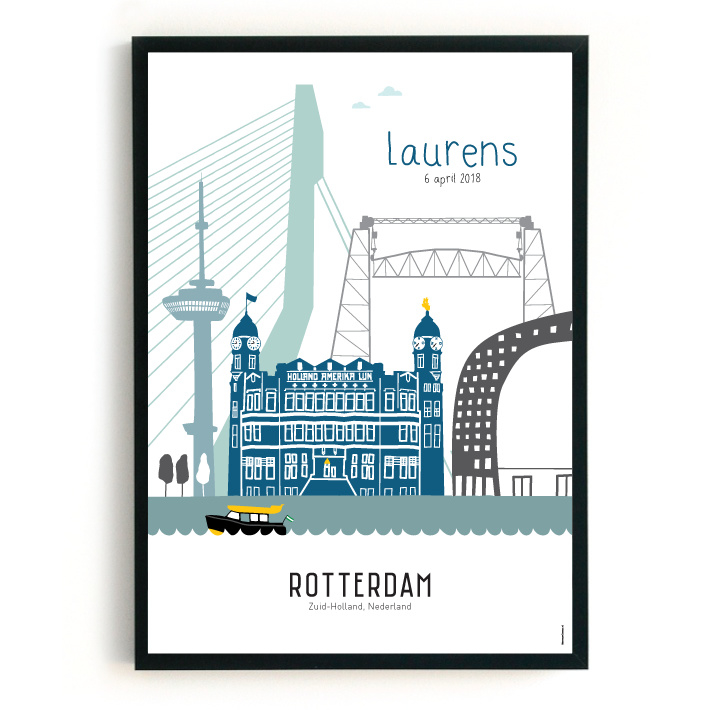 Geboorteposter Rotterdam - Laurens