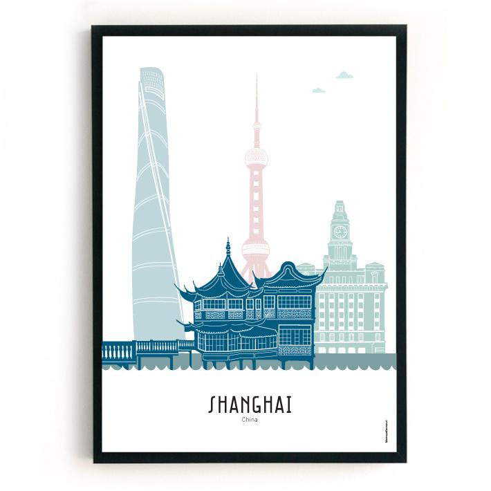Poster Shanghai in kleur