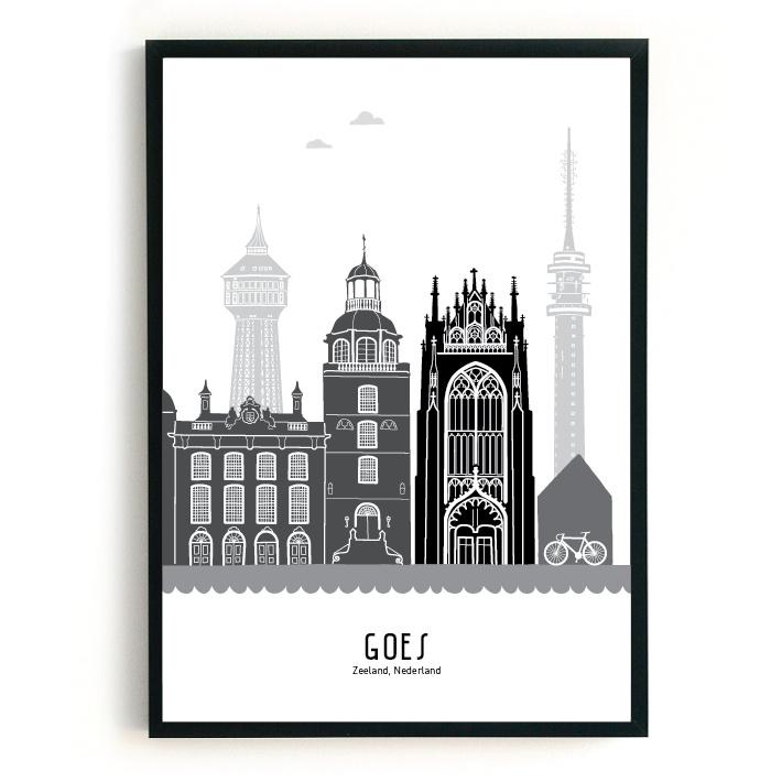 Poster Goes zwart-wit-grijs