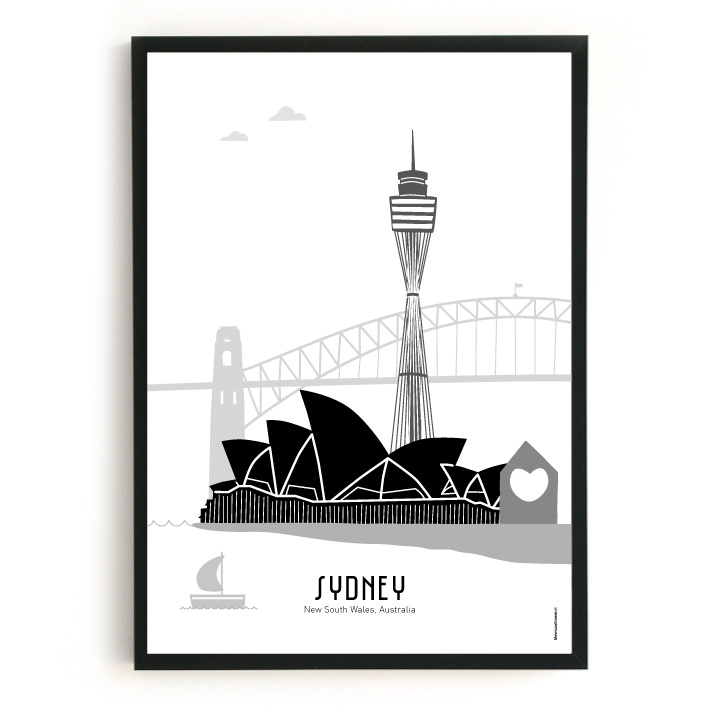 Poster Sydney zwart-wit-grijs