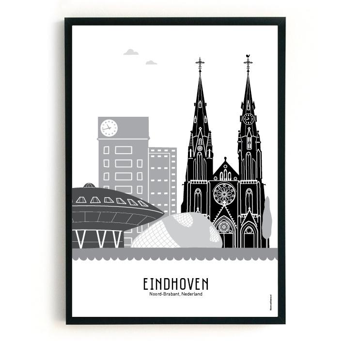 Poster Eindhoven zwart-wit-grijs