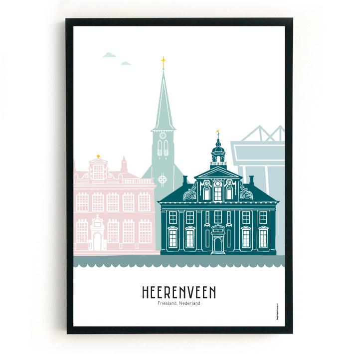 Poster Heerenveen in kleur