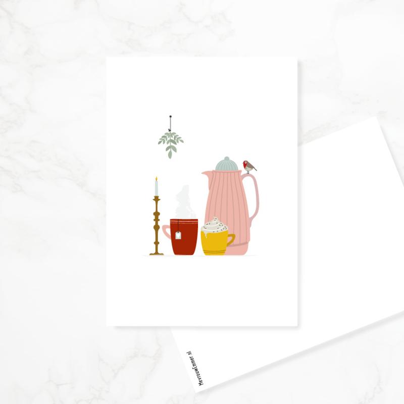 Ansichtkaart 'Op koude winterdagen...'