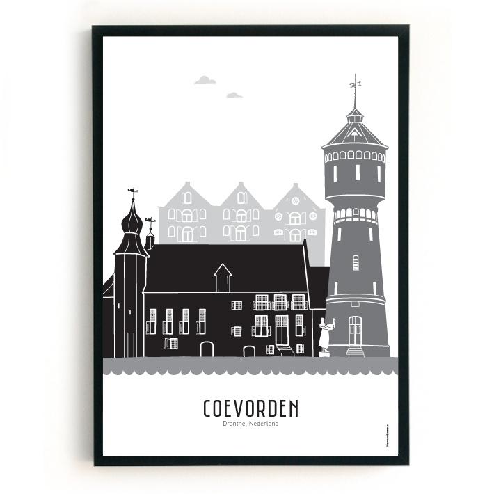 Poster Coevorden zwart-wit-grijs