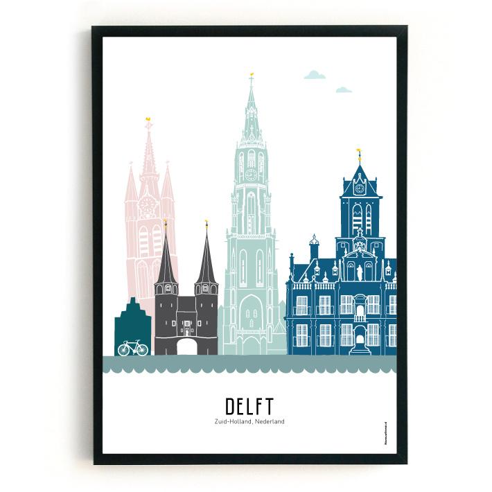 Poster Delft in kleur