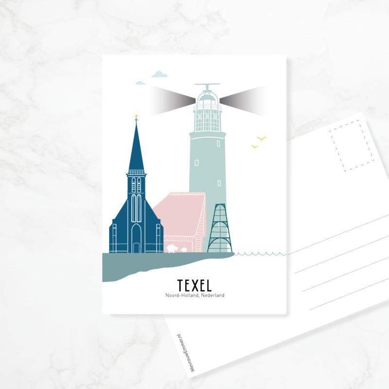 Ansichtkaart Texel - kleur