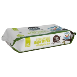 Biodegradable Baby Wipes met organische aloë (64 doekjes/pack)