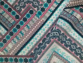 Viscose gestreept patchwork
