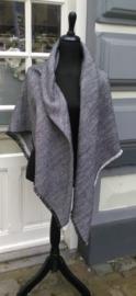 Omslagsjaal tweed zwart/wit
