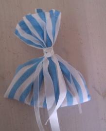Mottenzakje blauw/wit streep