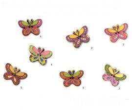 Houten knoop vlinder