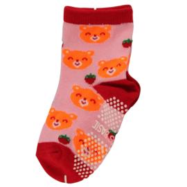 Sokjes met grip oranje beertjes