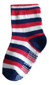 Sokjes met grip strepen rood wit blauw