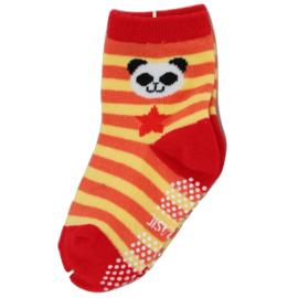 Sokjes met grip Panda oranje/geel/rood
