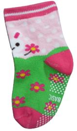 Sokjes met grip roze met konijntje en bloemen