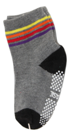 Sokjes met grip grijs met kleuren strepen