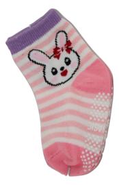 Sokjes met grip paars en roze streepjes
