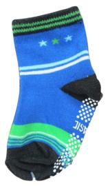 Sokjes met grip blauw groen