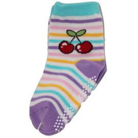Sokjes met grip kersjes op gekleurde streepjes