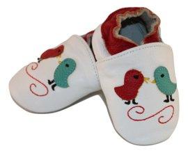 Vogeltjes met rode rand leren slofjes