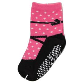 Sokjes met grip donker roze  ballerina