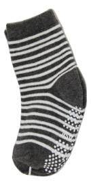 Sokjes met grip donker grijs/wit