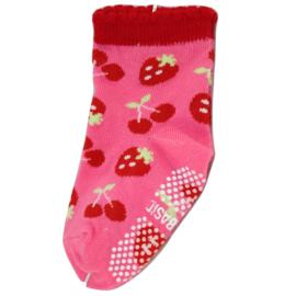 Sokjes met grip kers aardbei roze