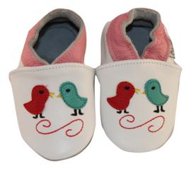 Vogeltjes Patta's (met roze rand) leren slofjes