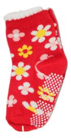 Sokjes met grip rood met bloemen