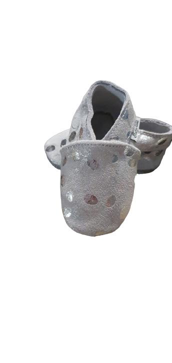 Glimmer zilver leren slofjes