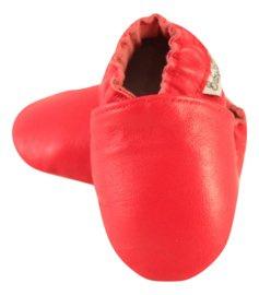 Rote Leder Hausschuhe