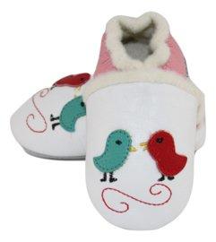 Vogeltjes Patta's (met roze rand) gevoerde leren slofjes