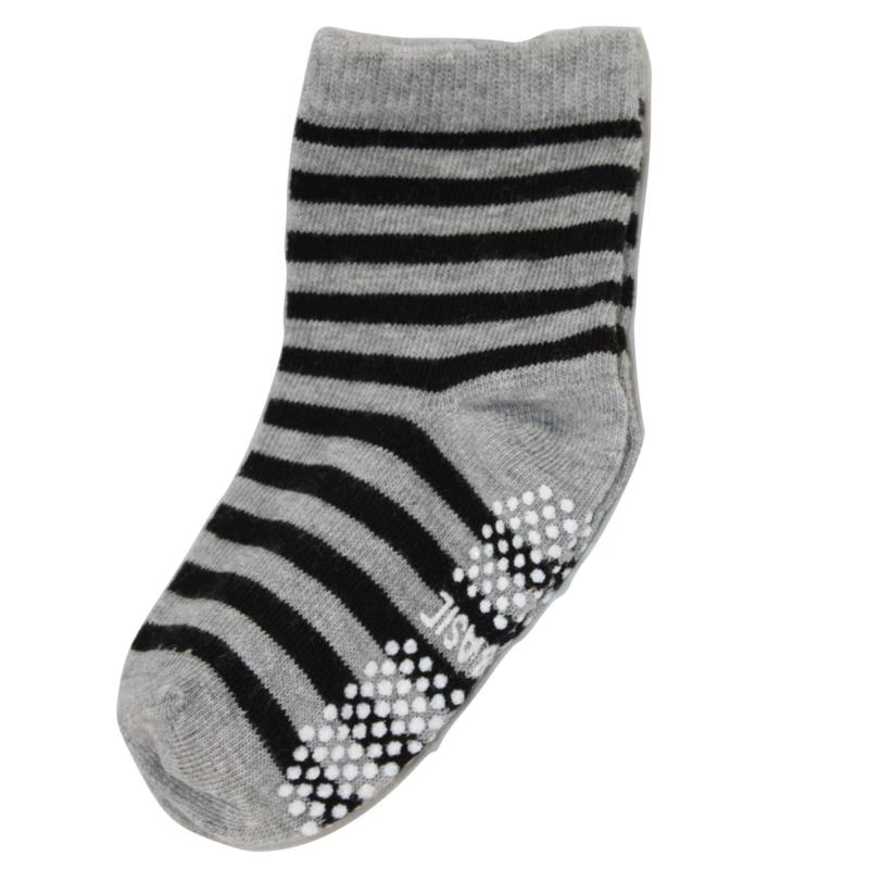 Sokjes met grip grijs/zwart