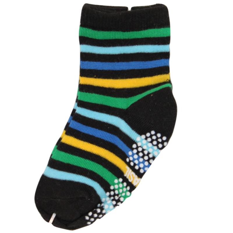Sokjes met grip gestreept  groen geel zwart en blauw