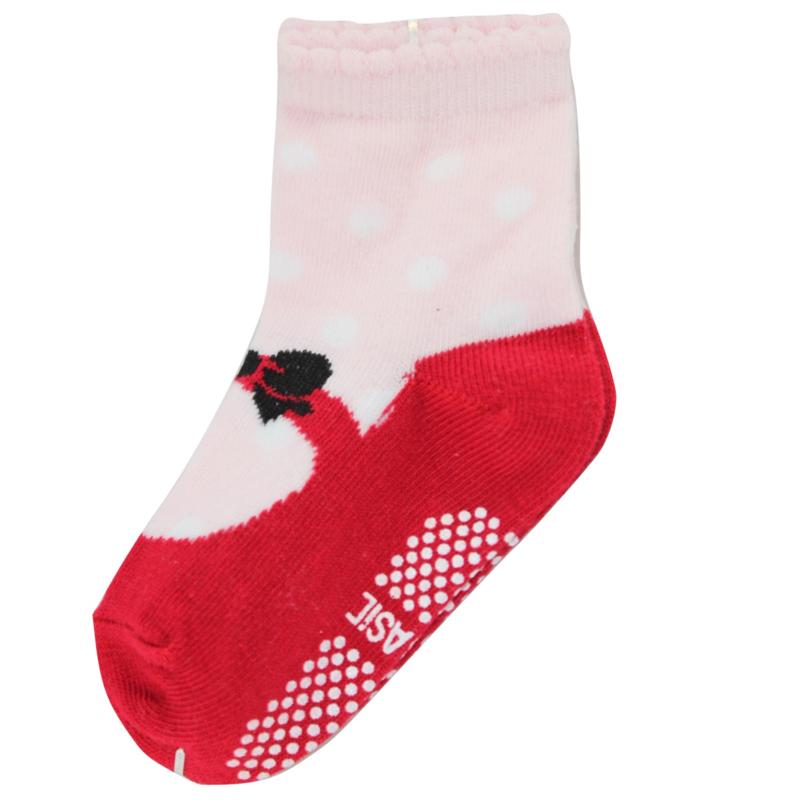 Sokjes met grip roze/rode schoentjes