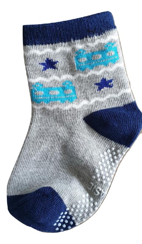 Sokjes met grip wagonnetjes grijs blauw