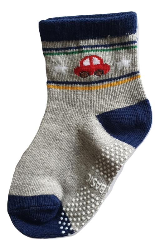 Sokjes met grip auto op grijs
