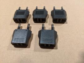 US naar EU adapters zwart (set van 5)