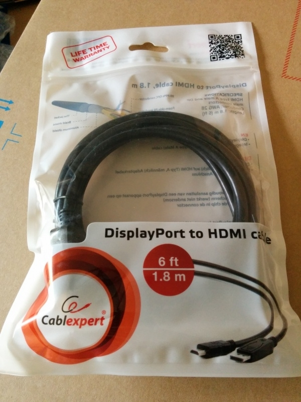 Displayport-HDMI kabel 1.8m