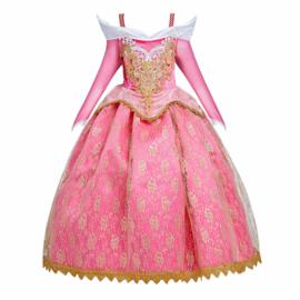 Prinsessenjurk Royal Queen Deluxe roze goud + kroon