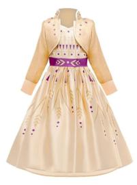 Anna jurk geel goud paars + GRATIS kroon paars