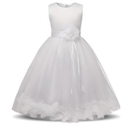 Communie bruidsmeisjes jurk wit met bloemen + krans