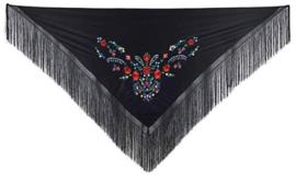 La Senorita Spanischer Manton/Tuch schwarz  verschiedene Blumen-Franzen schwarz Größe L