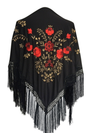 Flamenco dance shawl black red gold Medium