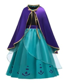 Anna jurk Kroning cape paars Deluxe + GRATIS kroon