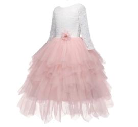 Communie bruidsmeisjes jurk roze kant laagjes + bloemen krans