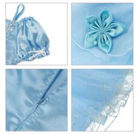 Prinsessenjurk licht blauw + broche en GRATIS kroon