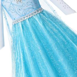 Elsa jurk blauw Glamour met ster + GRATIS kroon